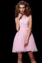 Abito Homecoming in Raso Satin Elastico con Perline Naturale A-Line Principessa