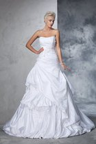 Abito da Sposa con Applique in Raso Senza Strap Ball Gown Naturale