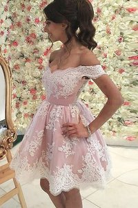 Abito Homecoming Principessa Mini Naturale in Tulle Fuori dalla spalla
