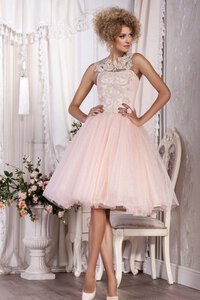 Abito Homecoming con Applique in Tulle A-Line con Piega con Bottone