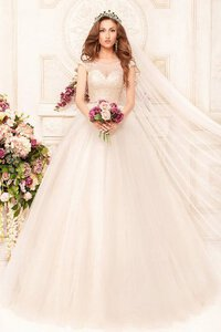 Abito da Sposa A Terra Ball Gown Tondo in Tulle con Applique