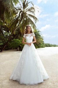 Abito da Sposa con Applique Lunghi Originale in Tulle con Perline