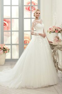 Abito da Sposa in Tulle Ball Gown Largo Conservatore con Bottone