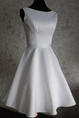 Abito da Sposa Mini in Raso Senza Maniche con Increspature Naturale