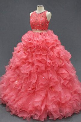 Abito Quinceanera con Perline con Increspature in Tulle in Pizzo in Pizzo