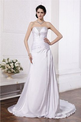 Abito da Sposa con Perline Alta Vita con Increspature A-Line in Seta Come Satin