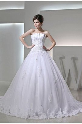 Abito da Sposa in Raso con Perline Ball Gown con Applique Senza Strap