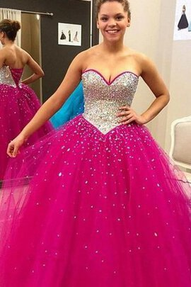 Abito Quinceanera Ball Gown in Raso A-Line in Tulle in Pizzo