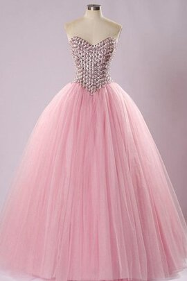 Abito Quinceanera con Increspature Cuore in Pizzo Ball Gown Monospalla