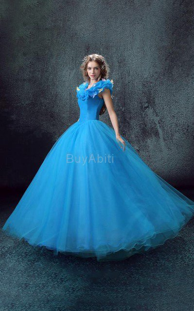 Abito Quinceanera con Increspature Lunghi Cuore in Tulle in Paillette